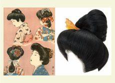 美術館で、日本髪を結うデモンストレーション