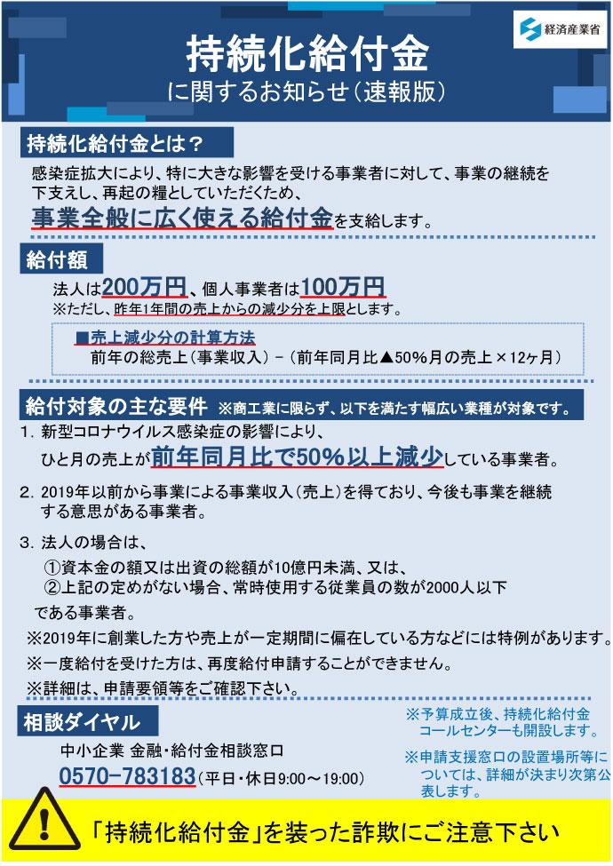 「持続化給付金」の申請要領