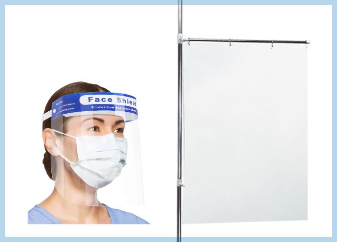 【飛沫感染対策】セット面を区切る簡易パーテーション、軽量&180°防護のフェイスシールド