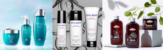 2020年6月1日より、店販ブランドの主力である「Aujua(オージュア)」「milbon(ミルボン)」「Villa Lodola(ヴィラロドラ)」の販売をスタート