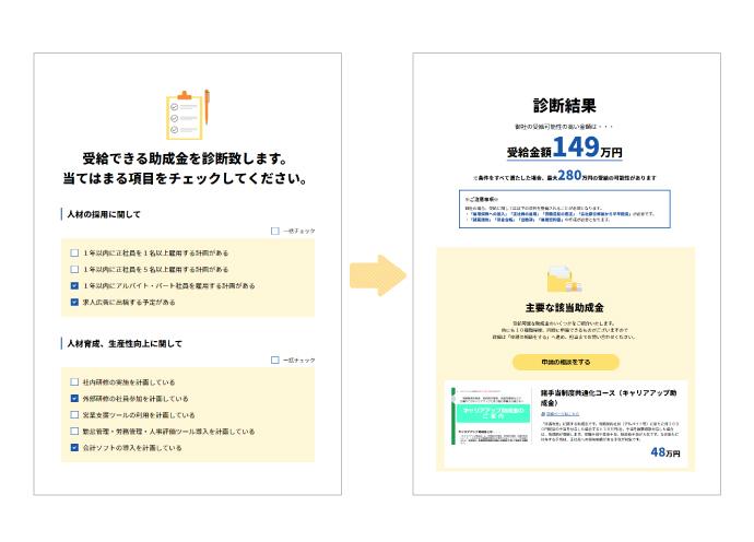 Web上で助成金・補助金受給をシミュレーション「サロン助成金・補助金診断」(ビューティガレージ×ライトアップ)