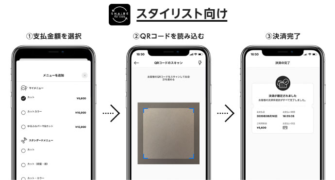 シェアサロンGTSSを利用するフリーランス美容師向けアプリ「SHAiRE for crew」の決済画面
